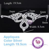 Crown Shape Silver Crystal Bright Popular 19.5*8.5cm Rhinestones Applique