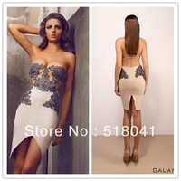 elegent boob tube top white knee length tight fashion latest design evening dress TM836 designer dress