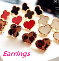 Min Order $10 free shipping Hot new  winter fashion jewelry 2014 leopard Clover Love resin earrings for women