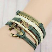 Handmade Infinity Anchor Rudder antique silver pendant Charm bracelet Christmas New Year 2014 Gift
