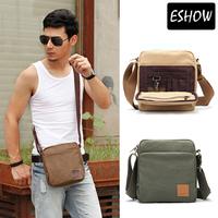 Eshow Canvas Satchel Bag Fashion Shoulder Bags Men Multi Function Messenger Bag for IPAD Brown Green Khaki BFK010502