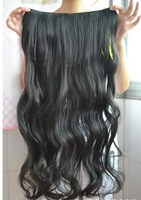 clip in synthetic hair extension hairpieces 5 clips on wavy slice hairpiece ,120grams,wavy hair , curly hair