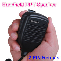 New Black 2 PIN Retevis Handheld PTT Speaker Microphone For QUANSHENG PUXING WOUXUN TYT BAOFENG UV5R KENWOOD Radio