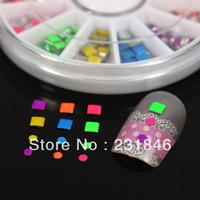 10 Wheels 6cm Small Case Fluorescent Neon Color Rivets 3mm Square 2mm Round Studs Nail Art Tips Decal Decoration Beads Manicure