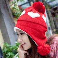 Free shipping 2013 Christmas Gift Women Hat Love Heart Pattern Lady Caps Winter Hats For Woman Ear Muff Fashion Lady's Headwear
