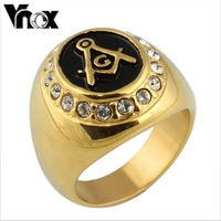 Gold freemasonry  ring jewelry  stainless steel masonic rings for men and women gold  crystal ring