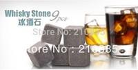 free shipping 9pcs/set  velvet bag whisky rocks,whisky stones,beer stone,whisky ice stone