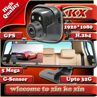 TOP Quality Best Thin With GPS 4.3Inch Rearview Dual Lens Full HD1920x1080P Car DVR Recorder Camera Video Black Box