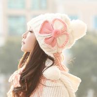 new arrival Hat female winter butterfly knitted hat women's ear knitted winter hat fashion millinery   Hat Skull Cap