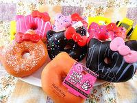 10cm Kawaii Hello Kitty Doughnut Bag Charm Squishies Jumbo Donut Free Shipping Wholesale Phone Keychain Large Rare Squishy Bread