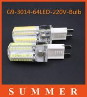 2013 New G9 6W 3014SMD 360 degree 64LED Warm/ White Light Bulb Lamp Droplight For Living Room Bed Room Garden 220v