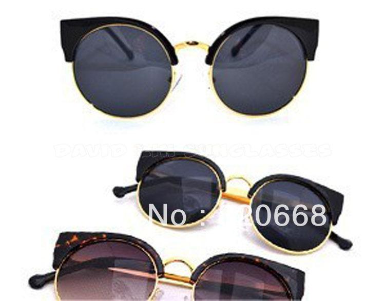 New 2013 Free Shipping Super Vintage Female Sunglasses Fashion Cat Eye Glasses Half Rim Metal Designer Eyewear 52107(China (Mainland))