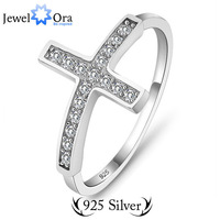 100% Guarantee 925 Sterling Silver Charms For Women Fashion Jewelry Jewelora  #RI101135  CZ Cross Ring Sterling Silver