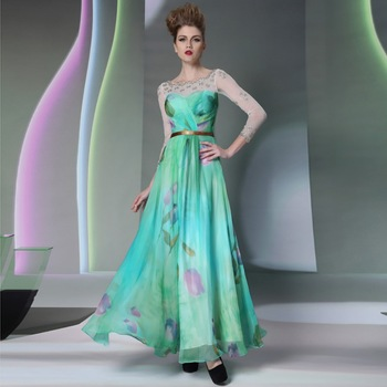 DORISQUEEN30903Free shipping ready to wear crystal A-line real photo printing floor length sexy long sleeve homecoming dress2015