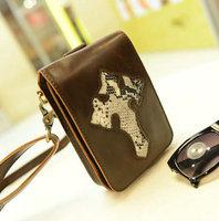 Outdoor PU leather cross printing men messenger bag,small shoulder bags for man,mini men's waist pack ,MB176