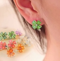 P0084 Min. order $10 (mix order) Free shipping New arrival  fashionable beautiful Four-leaf clover stud earrings for lady
