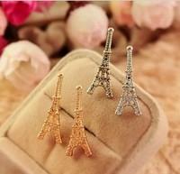 JD 2001 Free shipping New arrive trend beaytiful Eiffel Tower  Ear stud earrings for lady silver gold