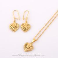 WesternRain Vintage Popular 24k Gold Jewelry  Heart Shape Pendant Necklace & Dangle Earrings, Fashion Jewelry Sets G656