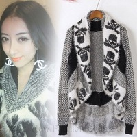 New Arrival Autumn/Winter 2013 New Fashion Shawl Cardigans Sweater Woman Knitwear Jumper With Skulls Free Shipping nz142