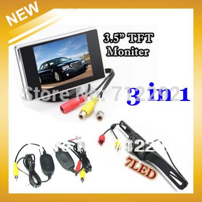 """Free Shipping HongKong Post,Wireless Car Reversing Rear View Kit Night Vision Camera+3.5"""" TFT Moniter+Adapt(China (Mainland))"""