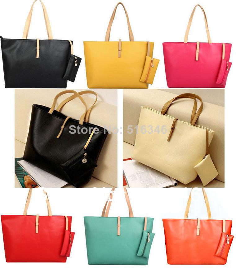 women leather handbags new 2014 spring and summer candy color big bag trend vintage women's messenger bag handbag(China (Mainland))