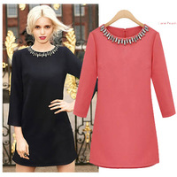 New 2013 Items Autumn Evening Fashion Women'S Dresses Mini Elegant Pearl Necklace Full A Line Black Vestidos De Chiffon A0101