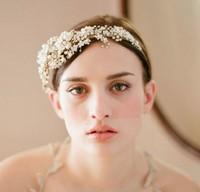 Luxury Gold Plated Crystal Rhinestone Headband Pearl Flower Wedding Hairband Bridal Tiara Headband Hair Accessorie WIGO0177