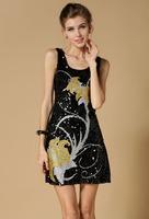 Europe style high quality sequins flower evening dress, new fashion vestido de festa pretty paillete evening dresses 41310