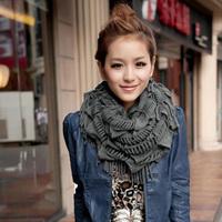 Womens Scarfs 2013 New Free Shipping Autumn Winter Fashion Lady Warm Collar Tassel Knitting  Wool Set of Head Scarf
