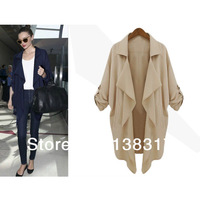 Fashion Woman Shirts Chiffon  Loose  Lapel Blouses Irregular Top Cardigan Thin Sunscreen Casual Coat Jacket Tag L XL XXL XXXL