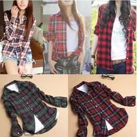 2015 New Fashion Womens Tops Casual Blouse Turndown Collar Long Sleeve Plaids Print Pattern Flannel Shirt J3820