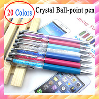 200pcs/lot HIGH QUALITY Colorful Jewelry Crystal Ballpoint Pen,promotion gift w/ company website,logo,velvet bag available
