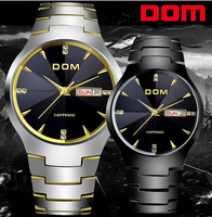 New 2014 men fashion trend Dom tungsten steel sapphire mirror 200m waterproof calendar business casual quartz watches