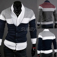 2013 New Fashion Casual Mens Knit Shirt Autumn Cardigan Korean Style Sweater V Neck Long-Sleeved Slim Fit Free Shipping