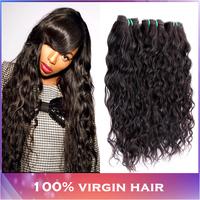 Cheap Peruvian Virgin Hair 4 Bundles Wholesale Peruvian Water Wave Modern Show Hair Peruvian Hair Natural Wavy&Wet Black Color