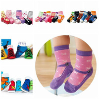 Free Shipping! Spring and Autumn 3D Fake Footwear Shape Baby Unti-skidding Socks With Skid Resistance Particle Baby Socks4007