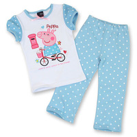 Retail New Next Baby Girls Autumn Clothing Sets short Sleeves shirt Long pants Suit Kids Peppa Pig Clothes Set Free shipping