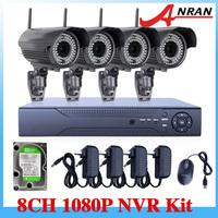 8CH NVR System 1080P 2.0 Megapixel  Wireless WIFI varifocal Lens 4-9mm Onvif 25fps Network IP Camera  2TB HDD