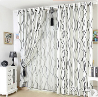 Free Shipping Modern Black and White stripe the finished curtain window screening high quality fabric curtains cotton