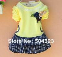 Free shipping 4pcs/lot Kids Girls Dress girls princess dress kids cotton DOTS  flower t shirt Autumn kids clothes wholesale