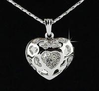 2014 wholesale fashion 18K silve/gold plate Gp Austrian Crystal Charms locket heart alloy pendant necklace