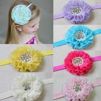 Large Flower with Rhinestone for Baby Elastic Headband Fashion Kids Chiffon Flower Hairband for Girl Children Hair Accessories