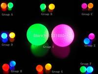 Free shipping   2 pcs LED Golf Ball 5 color Green Blue Red Pink Yellow   Flashing Constant Shining Luminous Glowing Golf Balls