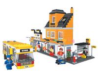 Ausini City Bus Station House Building Blocks Toy Construction Sets Educational DIY Bricks Toys For Children Compatible Blocks
