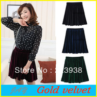 Free Shipping New 2013 Women's Sexy Pleated Mini Skirt Velvet 8 Candy Color Choose Elastic Waist Stretchy Free Size Wholesale