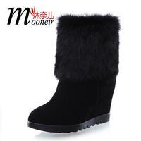 2013 genuine leather rabbit fur boots