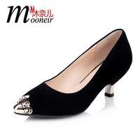 Autumn single shoes fashion metal pointed toe genuine leather scrub single shoes female sheepskin female thin heels formal shoes