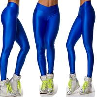 2014 Brand New leggings women solid candy Neon Sporting Pants Dancing V Shape High Waist Gym Yoga Fitness ballet  Leggings
