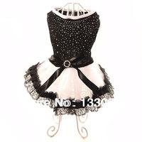 New design  dog clothes lace dress cute  pet clothing black white small medium dog cat Chihuahua Yorkshire Poodle  fashion rivet