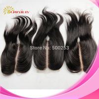 "Brazilian Virgin Human Hair Deep Middle Part Lace Closure Bleached Kntos Natural Black 1 Piece Silky Straight Top Closure(4""*4"")"